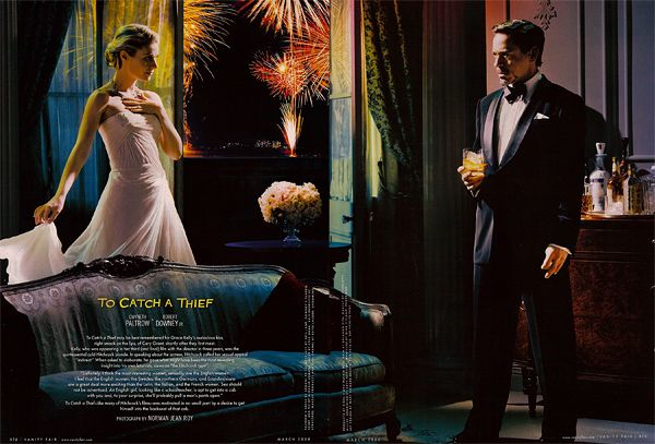 Vanity Fair eye on Hitchcock filmography  Gwyneth Paltrow and Robert Downey Jr. in To Catch a Thief