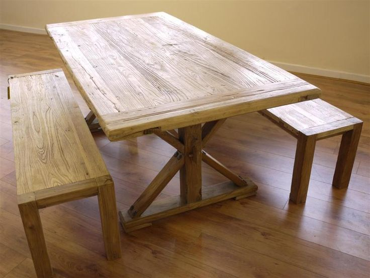 'OLD CHINESE DOOR' Rustic Dining Table Set Solid Reclaimed Elm Wood & 2 Benches  #Handmade #AntiqueStyle