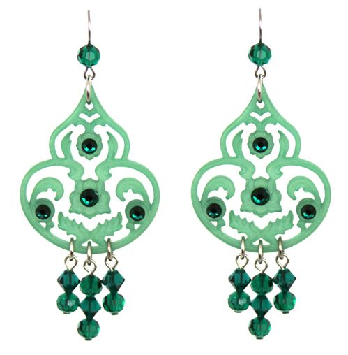 Tarina Tarantino Lucite & Crystal Drop Earrings in Lucky Clover