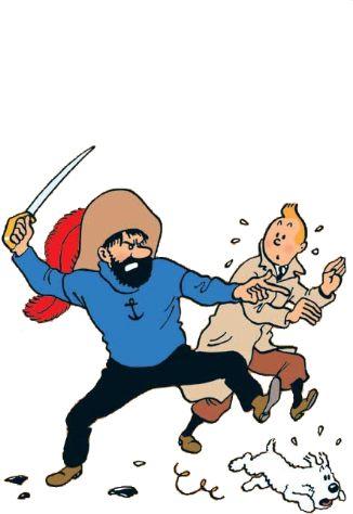 Captain Haddock, Tintin and Snowy