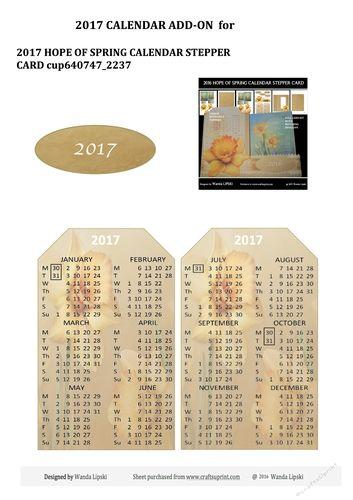 2017 CALENDAR ADD-ON for 2016 HOPE OF SPRING CALENDAR CARD | Craftsuprint