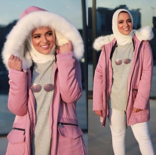 Furry pink jacket hijab style-Hijabi street style bloggers – Just Trendy Girls