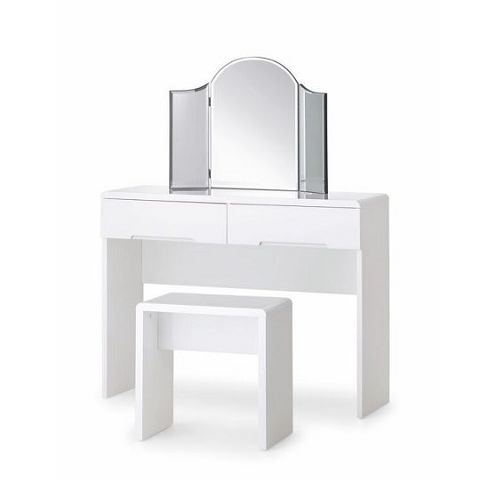 Arden Modern Dressing Table In White High Gloss With 2 Drawers And Stool Will Give An Elegance To Your Bedroom Mirror Is Not Included Features A