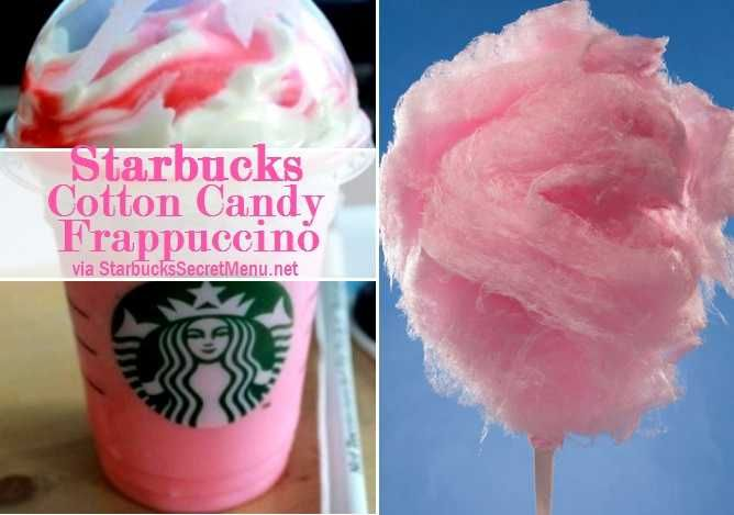 Starbucks Secret Cotton Candy Frappuccino 1. Order a Vanilla Bean Frappuccino 2. Add Raspberry Syrup (1 pump for tall, 1.5 for grande, 2 for venti