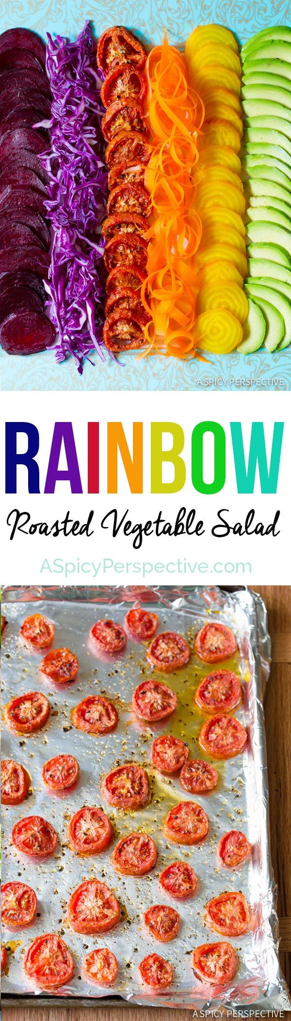 RAINBOW Roasted Vegetable Salad with Fresh and Sweet Roasted Veggies topped with…   – **FOOD LOVE**