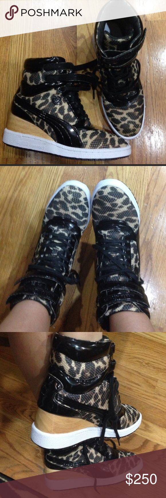 PUMA Muharram wedge leopard sneakers NIB size 8.5 Super hot!!!!!  Will fit size 9!! Description is in the last picture!!! Very rare!!! Puma Shoes Wedges