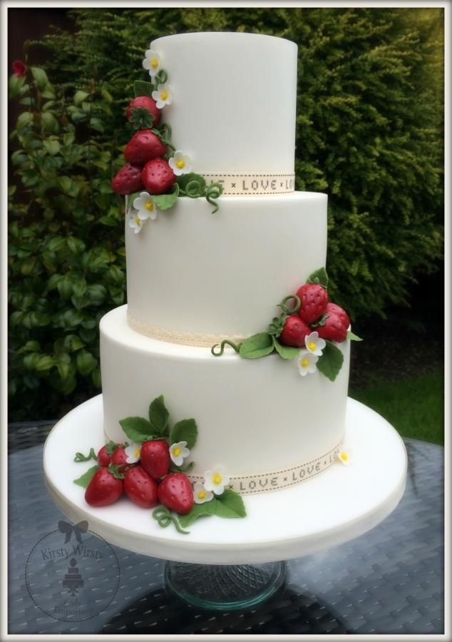 I love Strawberries……strawberries and cream are my favourite thing ever so I couldn't wait to make a strawberry themed wedding cake! I'm calling it my Wimbledon cake since it's June! Thank you for looking. Kirsty x...