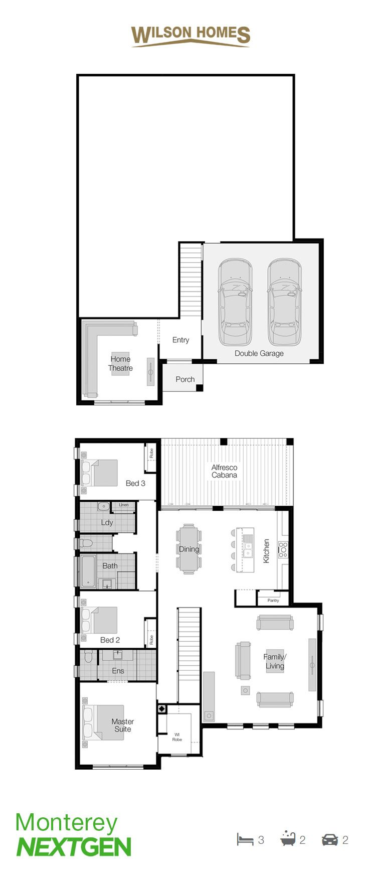 Monterey Floor Plan by Wilson Homes - NextGen Portfolio - Featuring a split-level design that offers rich views of the surrounds, this home is a sophisticated solution to building on a sloping block. Visit http://www.wilsonhomes.com.au/home-design/monterey to learn more. #splitlevelhome #wilsonhomes