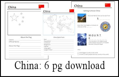 Use this 6 pg download with any study of China #homeschool #teach
