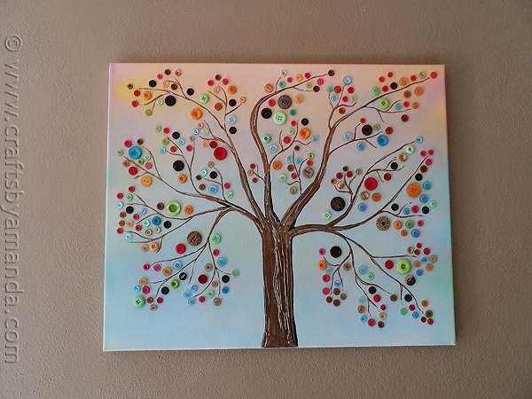 Vibrant Button Tree on Canvas crafts --  I like the tree very much, but not necessarily the buttons.