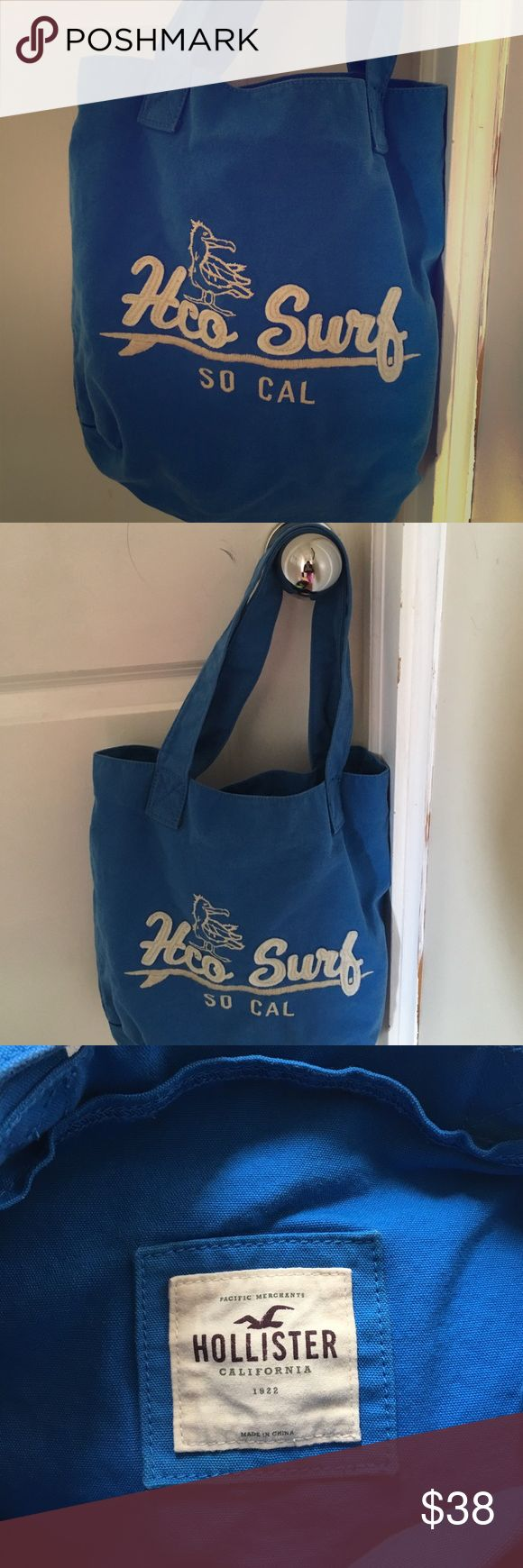 Hollister Tote Bag Super cute Hollister tote! Can be used as a book bag for school or just a bag you can throw some stuff in and be out the door! Small to medium sized. Hollister Bags Totes