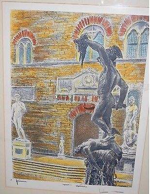 Perseus w/ the Head of Medusa by Artist Bela Sziklay ~ 14 x 18 Colored Etching