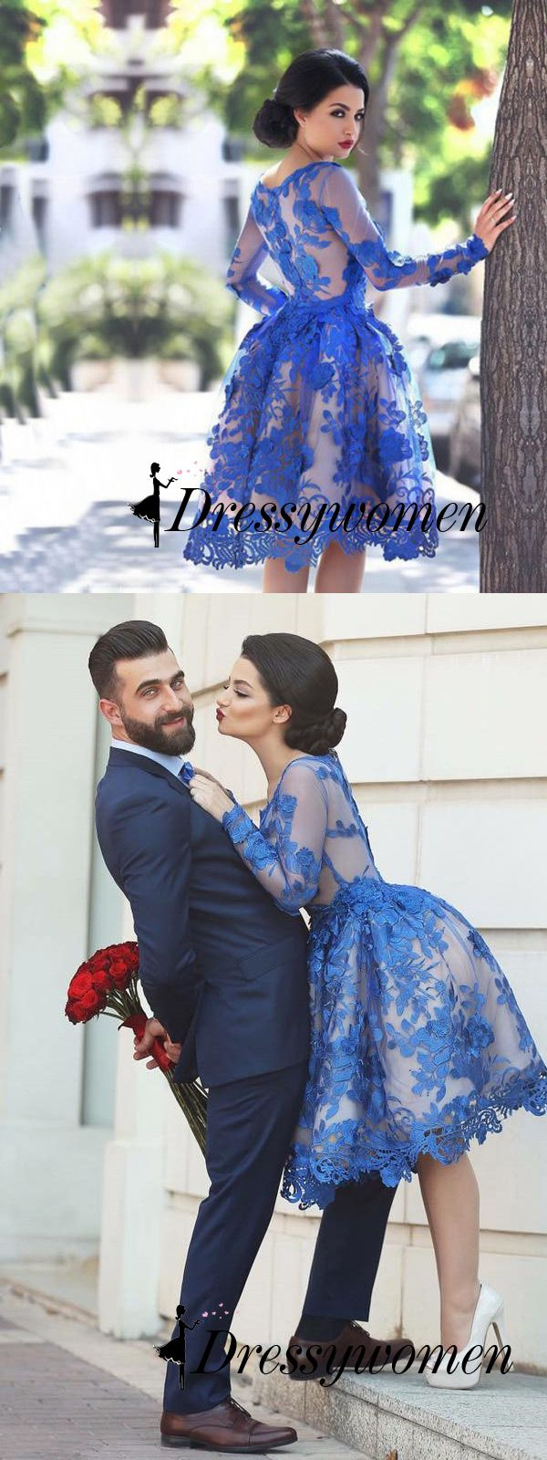Vintage Prom Dress, Royal Blue Lace Wedding Dress, Knee Length Prom Dress, Prom Dress  with Long Sleeves