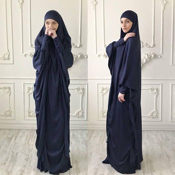 Navy blue Long Silk #muslim , Elegant green #muslim dress, #burqa ,Dubai #abaya , traditional #hijab ,ready to wear #hijab , long #jilbab , long burqa