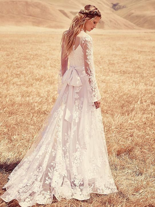 Free People boho long-sleeve wedding dress