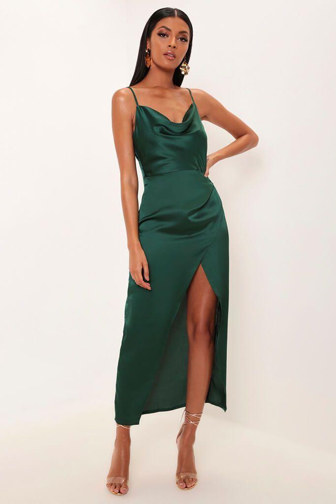 bf8d3c3541da Emerald satin cowl neck maxi dress in 2019 | Dresses | Dresses, Maxi ...
