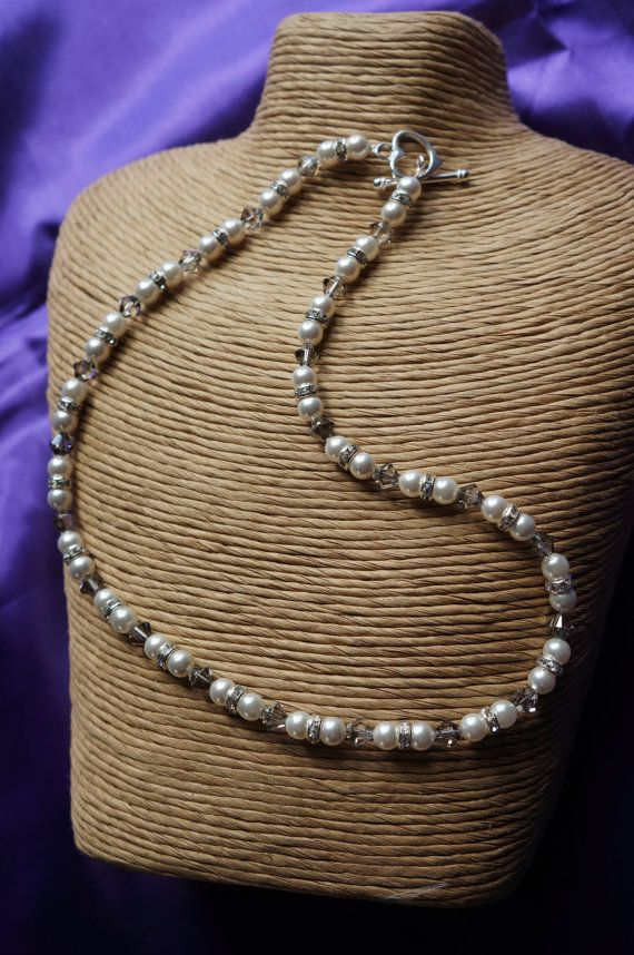 Bridal Jewellery Pearl Necklace Crystal by Makewithlovecrafts, £28.00