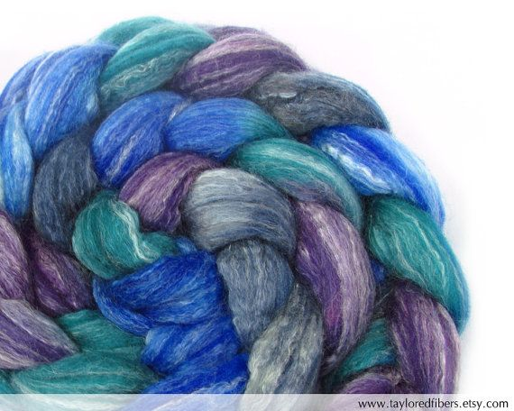 Beautiful fibers at this shop! Merino Bamboo Silk Roving Top Hand Dyed AMBS23 by tayloredfibers