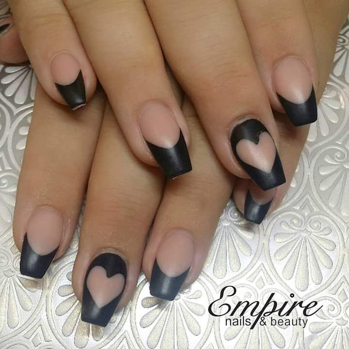 Matte Finish Beige And Black Designed Nails