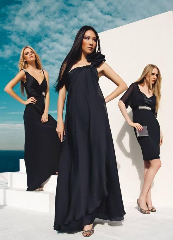 L'intramontabile #nero e i rflessi di luce dei cristalli che si fondono ai tessuti drappeggiati. A sinistra abito asimmetrico in cady, a destra tubino in cady e maniche in #chiffon. In primo piano un fluttuante #abito in satin con drappeggio #couture  Sandali gioiello e clutch quadrata in satin grigio fumo della collezione #FabianaFerriShoes & Bags S/S 2014 @pinkpower200 #black #cocktaildress #dress #springsummer 2014 #fashion #elegance #chic