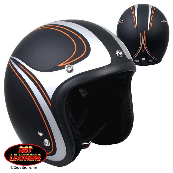 Hot Leathers Open Face Pinstripe DOT Helmet