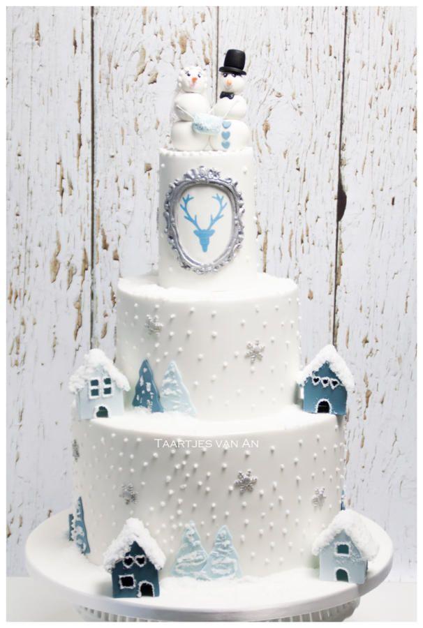 Winter Wonderland Weddingcake - Cake by Taartjes van An