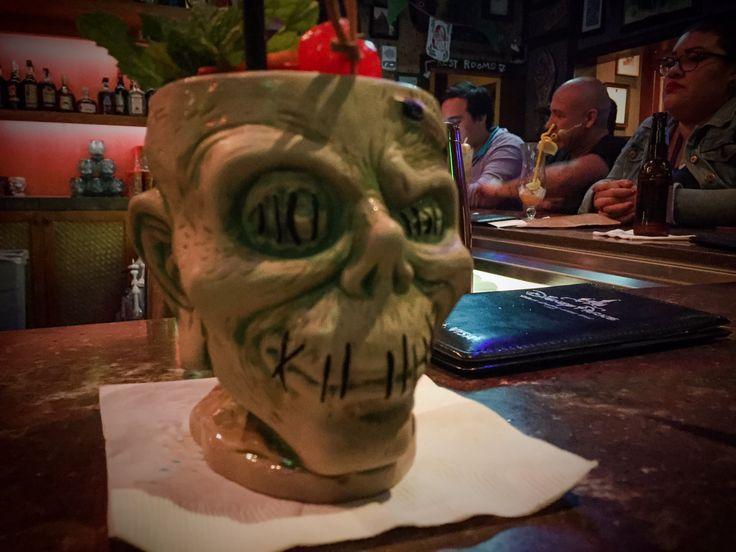 Shrunken Zombie Head by Tiki Farm, on location at Trader Sam's Enchanted Tiki Bar, Disneyland Hotel, Anaheim CA