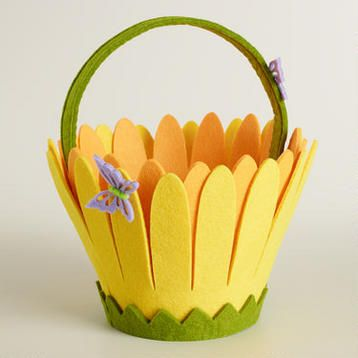 Butterflies on Daisy Felt Easter Basket