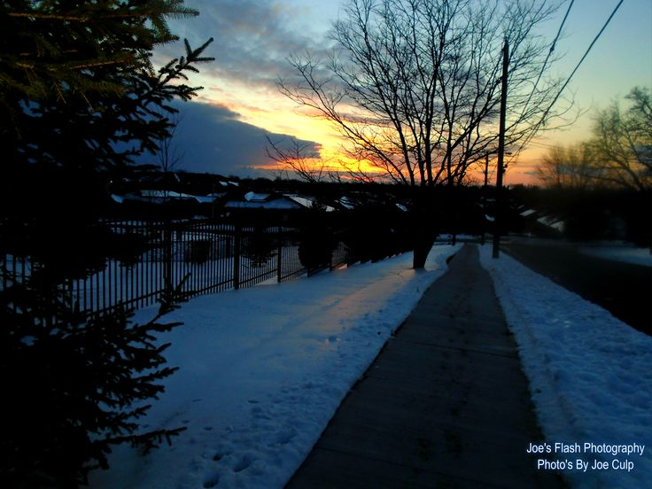 First Sunset of 2016 over Donald Street Belleville Ontario