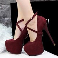 I think you'll like 100% high quality 2015 Spring European Women Flock leather Cross- strap high heels shoes 14cm nude color platform wedding shoes woman pointed toe fashion Simple vintage Valentine's party work office sandals girls Kvoll style Cute high heeled bridal pumps shoes zapatos tacones de mujer de fiesta. Add it to your wishlist! http://www.wish.com/c/5513c3e0e87fd20cfad28dd7