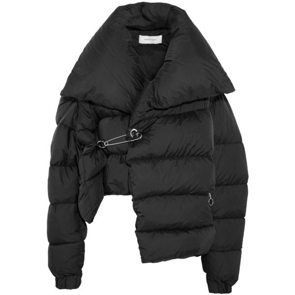 Marques' Almeida Asymmetric quilted shell down jacket ($1,140) ❤ liked on Polyvore featuring outerwear, jackets, black, down feather jacket, oversized collar jacket, down filled jacket, asymmetrical jackets and loose turtleneck