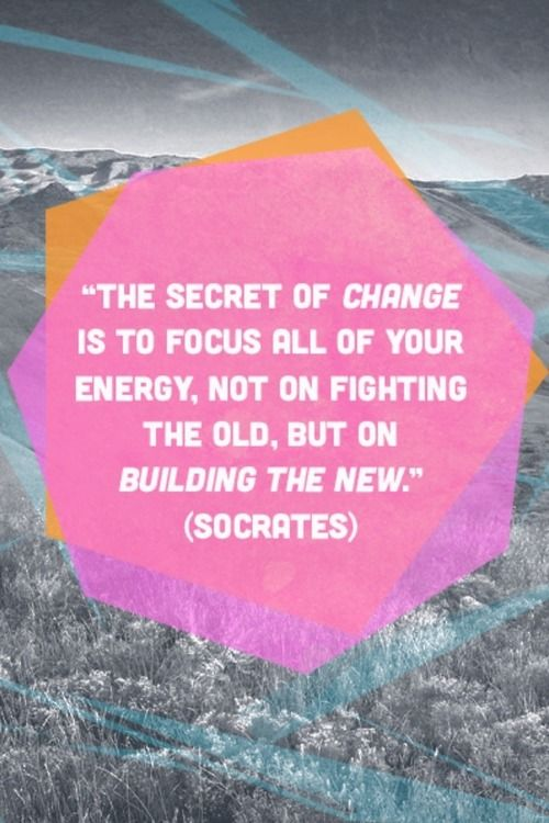 """The secret of change is to focus all of your energy, not on fighting the old, but on building the new."""