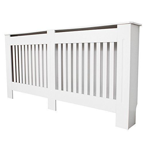 TANBURO Traditional Matte Painted Radiator Cover Cabinet Vertical Slatted White E1 MDF Medium 152 x 19 x 81.5cm---50.99---