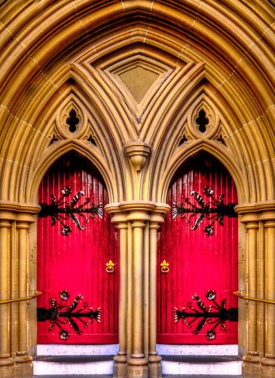 The doors to St Mary`s Cathedral in Geelong, Australia. By the artist shadesofcolor on redbubble.com