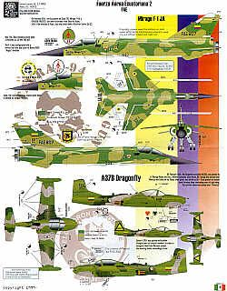 Ecuadorian Air Force Part 2. FAE (10) Mirage F-1JA No 807; A-37B Dragonfly No 392; Strikemaster Mk.88 No 259 2 versions; Alouette III (6) No 398 overall light grey; No 367 Overall green; No 367; Green/brown camouflage; No 969 Red/grey; No 301 Naval Grey/orange; No 397 camouflage schemes on float
