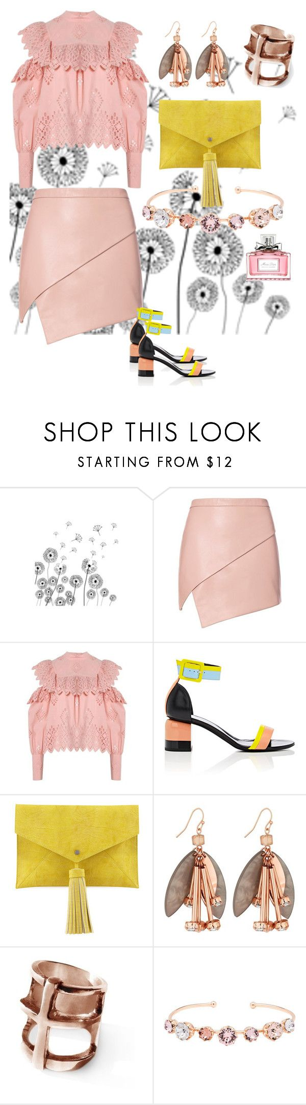 """Pink and yellow"" by soulchicjourneyatelier ❤ liked on Polyvore featuring Michelle Mason, Sea, New York, Pierre Hardy, Neiman Marcus, Pamela Love, Ted Baker and Christian Dior"