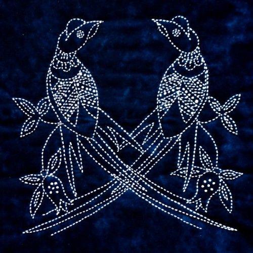 Sashiko Pheasants - Indigo Niche