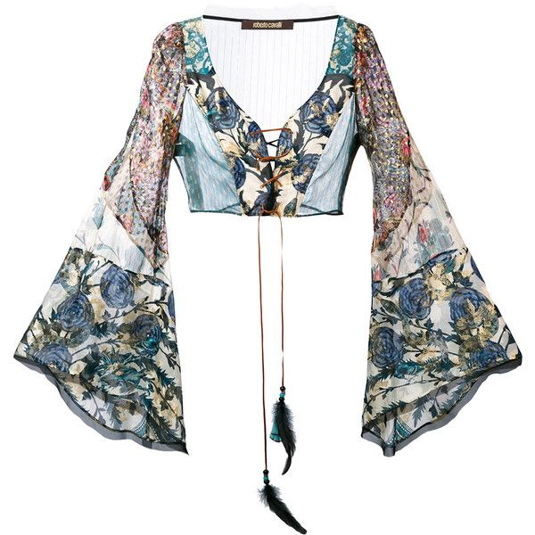 Roberto Cavalli floral lace front flared sleeve crop top (€1.955) ❤ liked on Polyvore featuring tops, shirts, blouses, blusas, crop top, blue, beaded crop tops, white lace top, bell sleeve shirt and lace crop top