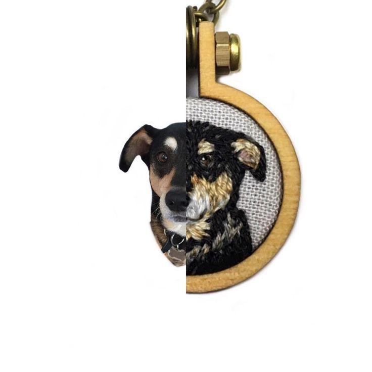 "Thimble Thistle (@thimblethistle) on Instagram: ""Close up detail of a pendant comparison photo. This @dandelyne hoop is 1"". Pet portraits make a…"""