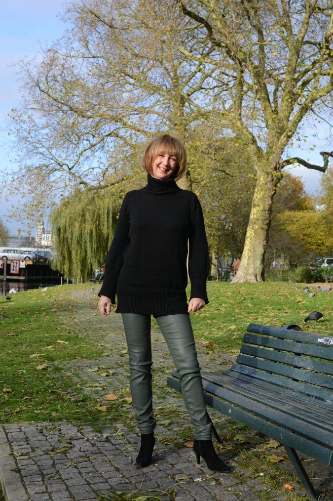 Green coated skinnies and black sweater 3