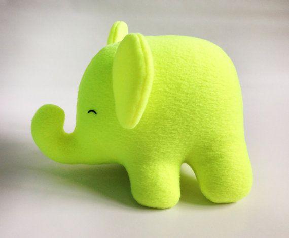 NEON Yellow Elephant Plush  stuffed animal  by tinylittleforest, $35.00