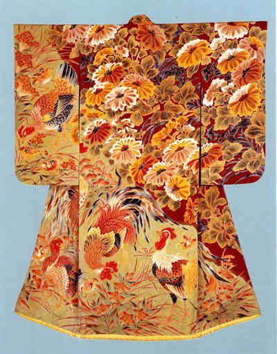 "Formal kimono with design of chrysanthemums and fowlsDivided dyeing (somewake) on plain-weave silk (habutae), Created in 1935 by Uzan Kimura, holder of an ""Important Intangible Cultural Asset"". This work was produced in Kimura's prime, and is very rich in individuality and artistic merit."