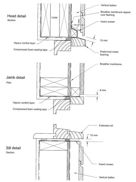 Wood siding window details drawing section for Bay window plan detail