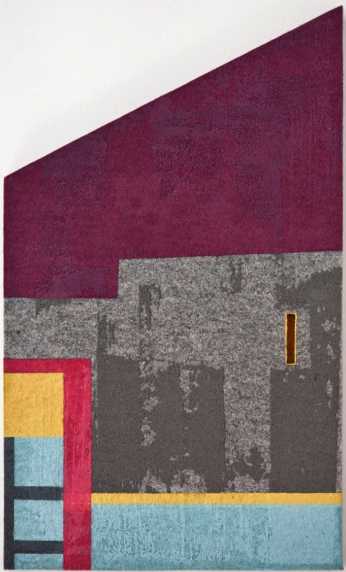 Krista Svalbonas - In the Presence of Memory 1 oil, steel photo-serigraph and mixed media on industrial felt 15×9, 2014