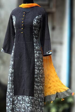 long kurta - ajrakh & yellow sprinkles