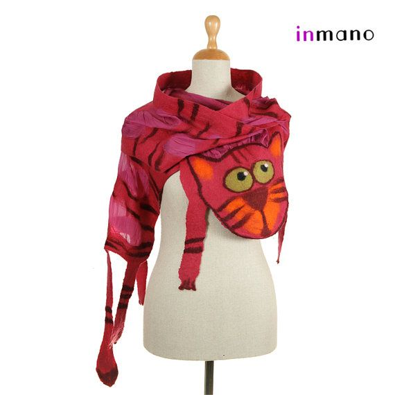 pink  red scarf nuno felted curious cat  silk eco wool by inmano