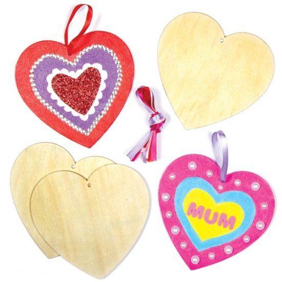 Harten Houten Hang Decoraties voor Kinderen te ontwerpen, verven en versieren voor Valentijnsdag of Moederdag. (8 stuks)