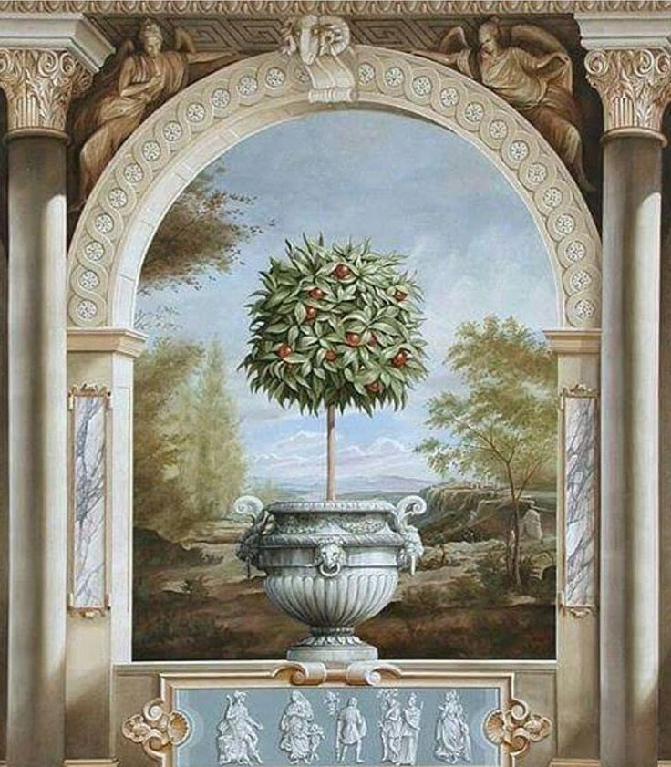 1000 images about interior trompe l 39 oeil murals on for Art nouveau mural