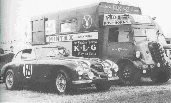 An unknown LeMans contender(Aston Martin DB2, I think) plus its transporter