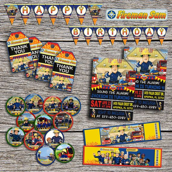 Fireman Sam Birthday Party Pack - Digital Printable Personalized Fireman Sam Party Package - Fireman Sam Invitation+Party Supplies